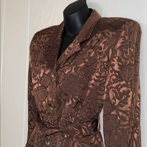 🎉Vtg R & M Richards brown shiny brocade jacket🎊